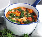 Curly kale, chorizo and rice stew