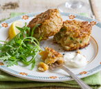 Kipper fish cakes with oatmeal crust