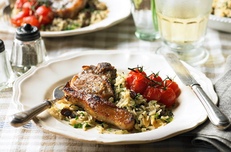 Lamb chops with oregano lemon and tomatoes HERO