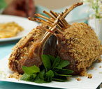 Lamb guard of honour with lemon and mint crust