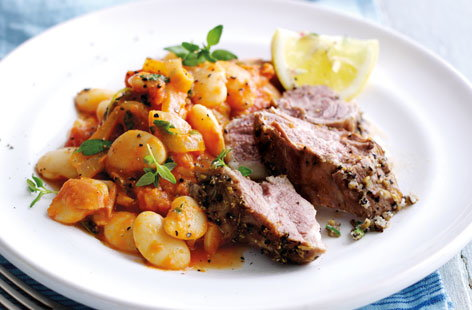 Fennel and pepper crusted lamb with butterbean stew