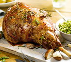 Roast lamb with mint pesto sauce
