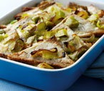 Leek and bread pudding