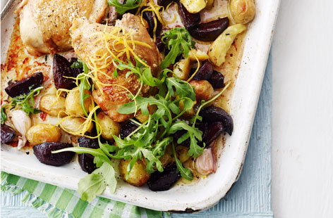 Lemon thyme chicken with roasted balsamic beetroot