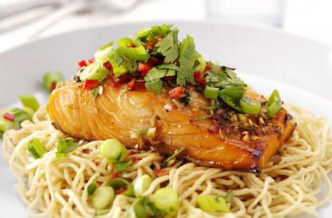 Salmon with coriander salsa
