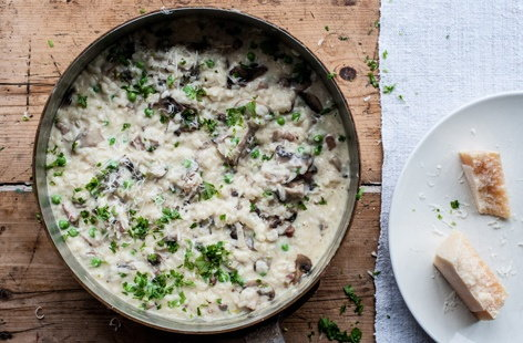 Marcus Wareing's pea and pancetta risotto