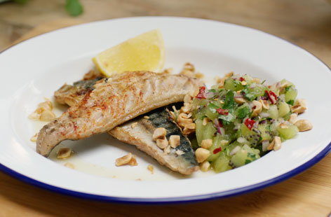 BBQ mackerel with kiwi salsa