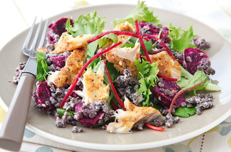 Beetroot and mackerel salad