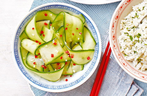 Marinated cucumber with garlic and chilli