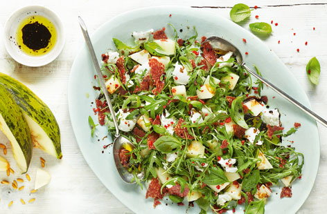 Melon, mozzarella and salami salad