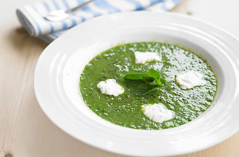 Minted pea & goats cheese soupTHUMB