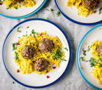 Moroccan lamb balls with jewelled rice and cumin yoghurt Wareing(t)