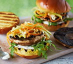 Mushroom burgers with Asian-style slaw