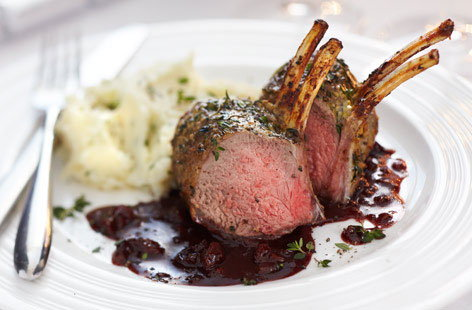 Finest rack of lamb with cherry, shallot port wine sauce