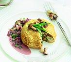 Novelli steamed winter mushroom and chestnut crepe parcels