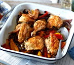 One-pan jointed chicken with red onion and sweet peppers