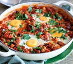 One-pot harissa-spiced aubergine and eggs