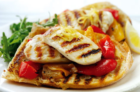Open Halloumi and Pepper Sandwich (h)