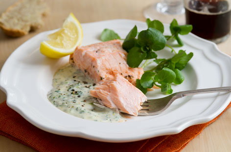 Poached salmon, watercress mayonnaise with a hint of dijon mustard Oven-poached-salmon-h-91ff1ed0-f7b7-4aaa-ac57-f2adfa753935-0-472x310