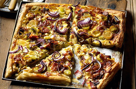 Gruyere and bacon pastry tart