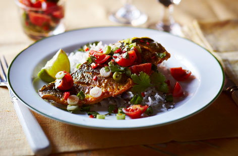 Pan-fried sea bass with spicy salsa