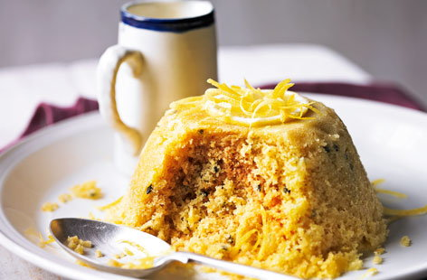 Passion fruit and lemon steamed pudding