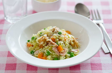 Chicken, pea and ham risotto
