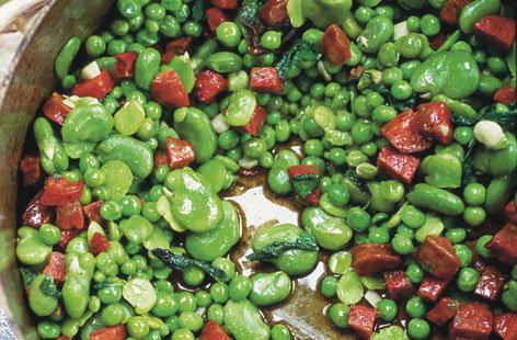 Peas, broad beans and chorizo
