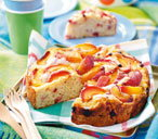 Peach and redcurrant cake