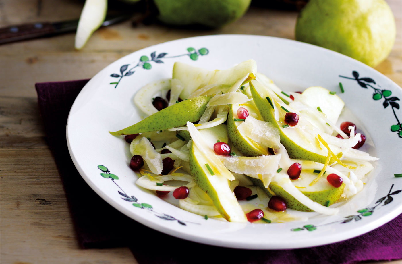 Roasted Pear Salad With Endive, Pomegranate, Blue Cheese, And Hazelnut ...