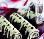 Pistachio and marzipan festive yule logs
