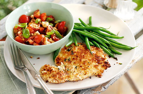 Pork milanese with tomato salsa and lemon green beans hero