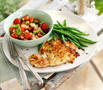 Pork milanese with tomato salsa and lemon green beans thumb