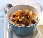 Porridge with apricot and cranberry compote