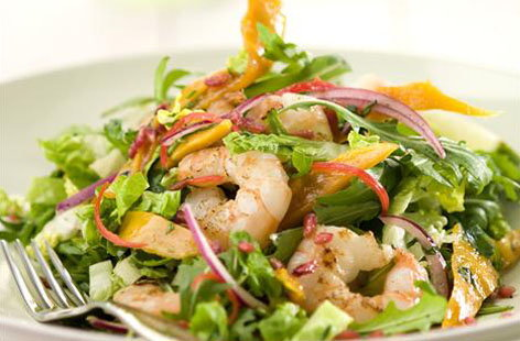 Prawn, Mango and Pomegranate salad hero