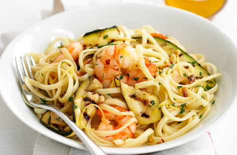 Prawn and courgette linguini hero