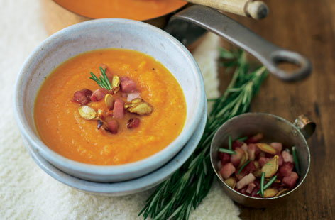 Pumpkin soup with rosemary and bacon HERO