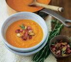 Pumpkin soup with rosemary and bacon