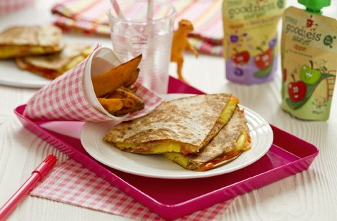 Ham, cheese and pineapple quesadillas