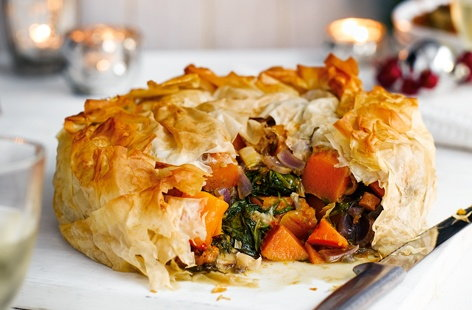 Butternut squash and stilton filo pie