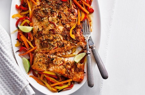 Asian spiced salmon with rainbow veg
