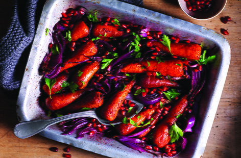 Roasted carrots and red onions with sumac