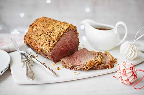 Roast beef topside with a rosemary crust