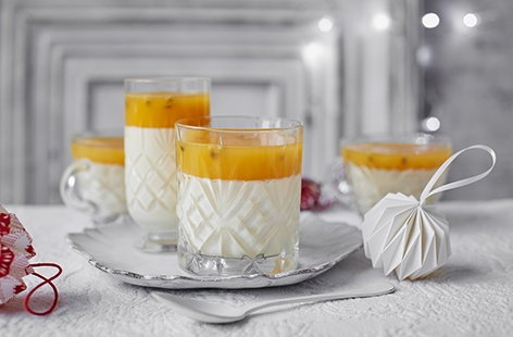 Passion fruit and prosecco jellies with panna cotta