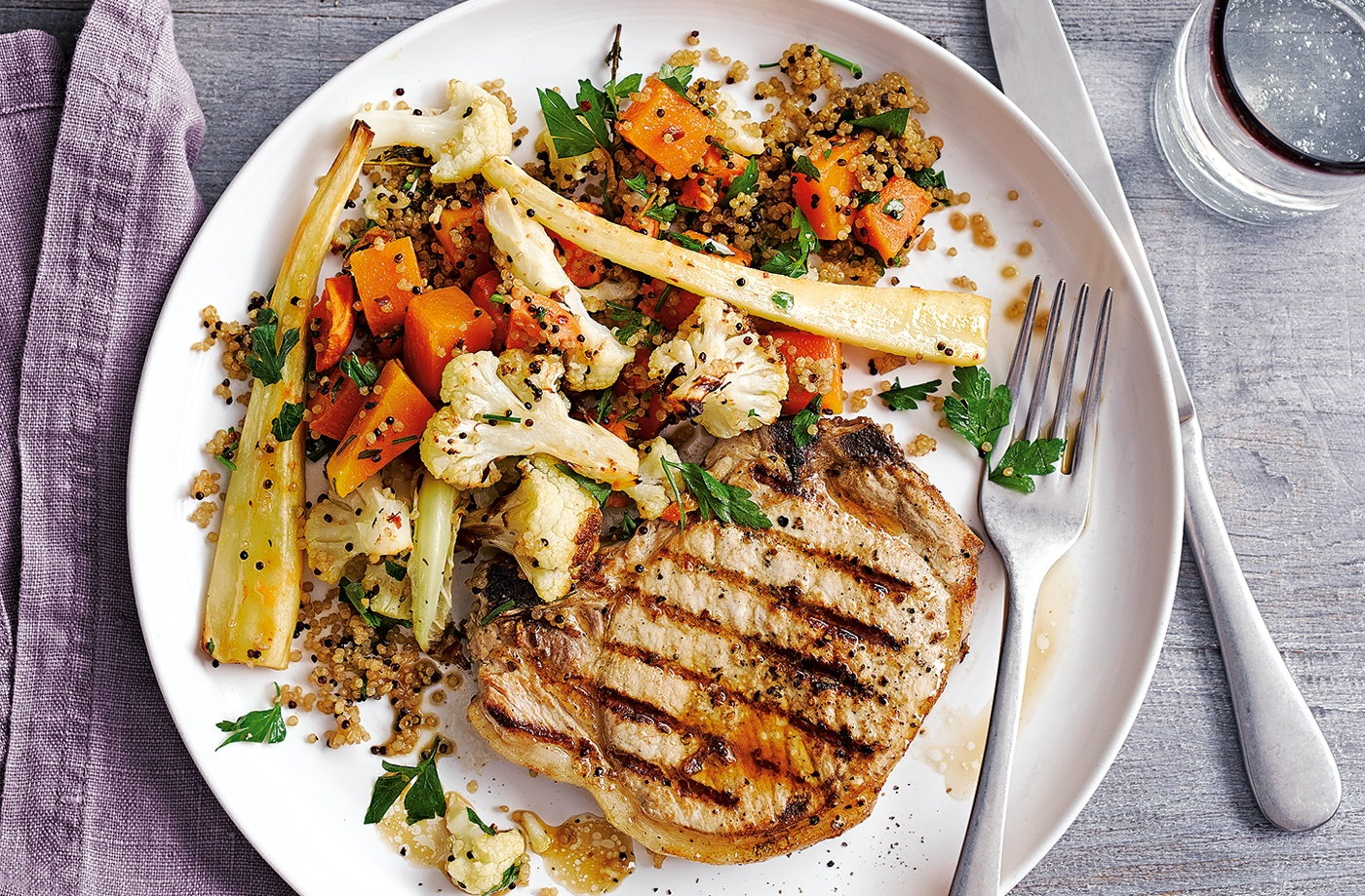 Pork chops with winter veg quinoa tesco real food for Dinner main course recipes