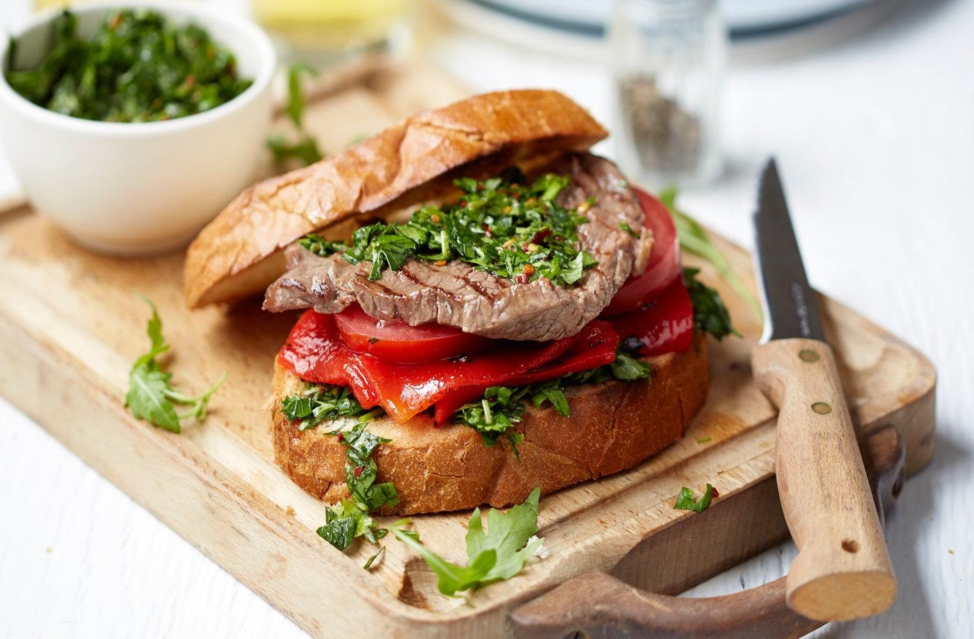 Chimichurri sandwich steak sandwich tesco real food for Argentinean cuisine