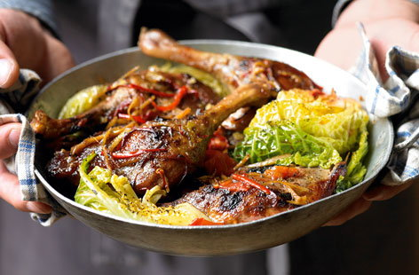 ROAST ASIAN DUCKLEGS WITH SAVOY CABBAGE THUMB