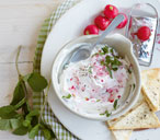 Radish tzatziki dip with crisp flatbreads