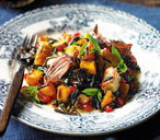 Warm pumpkin, halloumi and wild rice salad