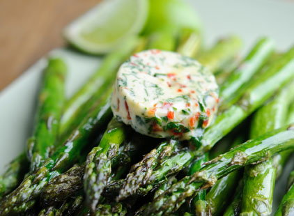 Roasted British asparagus with chilli butter